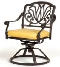This Caluco Florence Swivel Arm Chair, Florence Collection Beautiful wrought detailing and graceful curves highlight the popular Florence Collection, inspired by Mediterranean outdoor lifestyles. Hand-crafted of durable weather resistant cast aluminum, each piece has a warm antique finish for timeless appeal.     $440.00