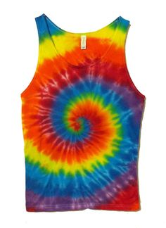 Tie Dye Tank Top - Classic Psychedelic Rainbow Spiral - Soft Cotton Tie Dye Tank