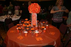 Basketball Centerpieces | basketball table with cupcakes & punch | Tablescapes & Centerpieces