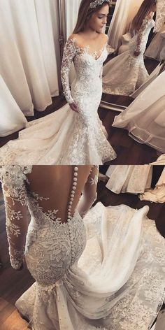 Mermaid Wedding Dresses,Illusion Wedding Dresses,Long Sleeves Wedding Dresses,Appliques Wedding Dresses,Wedding Dresses 2017