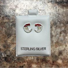 .925 Sterling Silver Stud Earrings Enamel Santa design made from Sterling silver Ocean Jewelers Jewelry