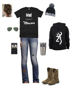 """Went to see the baby calve yesterday"" by kansascountrygirl ❤ liked on Polyvore featuring Hollister Co., Under Armour, Ray-Ban and Justin Boots"