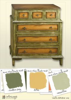 Inspiration today comes from Joss & Main. Using muted greens and yellows creates a style reminiscent of old world furniture on this new, reproduction, chest of drawers. To recreate a similar l...