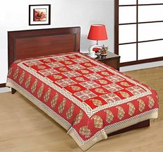 Odishabazaar Sanganeri Printed Cotton Single Bedsheet Bedcover in Red Color Odishabazaar http://www.amazon.com/dp/B01CCSFCL4/ref=cm_sw_r_pi_dp_eaT1wb0QB44AB