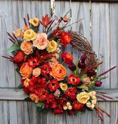 Sunset Garden Wreath, English Rose Peony Poppy by IrishGirlsWreaths, $159.99- *SOLD!*