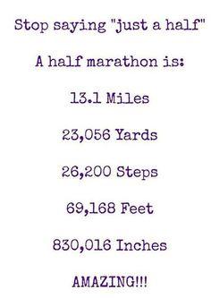"Matters Running Matters Stop saying ""just a half"". A half marathon is miles.Running Matters Stop saying ""just a half"". A half marathon is miles. Half Marathon Quotes, Half Marathon Motivation, Disney Half Marathon, Marathon Tips, Running Motivation, Body Motivation, Fitness Workouts, Running Workouts, Half Marathon Training Plan"