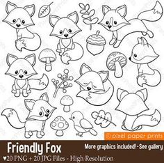 Friendly Fox Digital stamps Fox stamps Line art