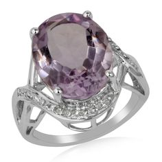 Pink Amethyst White Topaz Sterling Silver Designer Ring Valentine Gift Jewelry #Unbranded #Dome #ValentinesDay