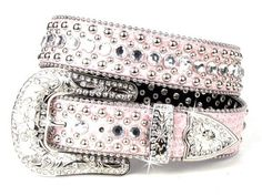 Pink Bling Western Leather Rhinestone Buckle Cowgirl Belt Small Medium Large XL…