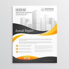 Корпоративная брошюра с черной и желтой волнистой формы свободный вектор