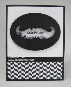 Mustache Framelit Shaker card - Barbstamps!! Barb Mullikin Stampin' Up! Demonstrator
