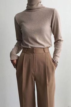 Minimal Neutral Outfit, beige turtleneck with brown trousers . Minimal neutral outfit, beige turtleneck with brown trousers , Minimal Neutral Outfit, beige turtleneck with brown pants Mode Outfits, Office Outfits, Winter Outfits, Casual Outfits, Fashion Outfits, Chic Office Outfit, Office Attire, Outfit Work, Office Chic