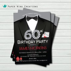 60th Birthday Invitation Casino Theme By ThePaperWingCreation 1500 21st Invitations 40th