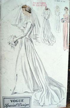 1950 BEAUTIFUL BRIDES DRESS WEDDING GOWN PATTERN VOGUE SPECIAL DESIGN 4017