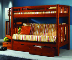 Honey Twin Wood Futon Bunk Bed with Stairs. It features a solid pine twin futon bunk bed with storage stairs built into the end.