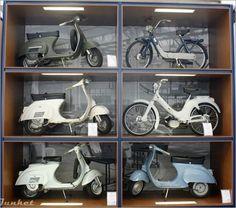display of Vespas in Piaggeo Museum Italy