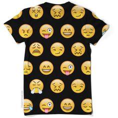 Black Emoji T-Shirt ($52) ❤ liked on Polyvore featuring tops, t-shirts, shirts, emoji, short-sleeve shirt, short sleeve t shirts, round neck t shirt, short sleeve shirts and print shirts