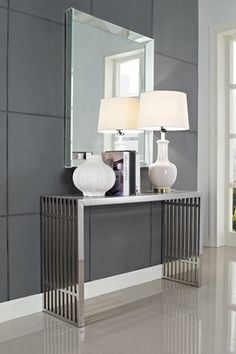Gridiron Console Table - Silver by Cali Modern Classics