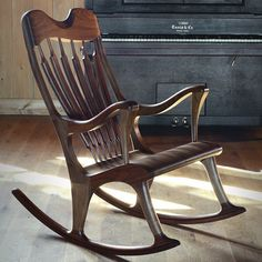 Take a look at the Ekko rocking chair made of walnut with wenge accents or cherry. An ergonomic handmade rocking chair made by a craftsman. Wood Bed Design, Wooden Sofa Designs, Chair Design, Custom Wood Furniture, Classic Furniture, Furniture Design, Wall Painting Living Room, Bedroom Furniture Online, Rolling Chair