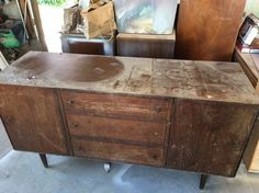 mid century modernized sideboard w high gloss oil enamel gel stain, how to, painted furniture