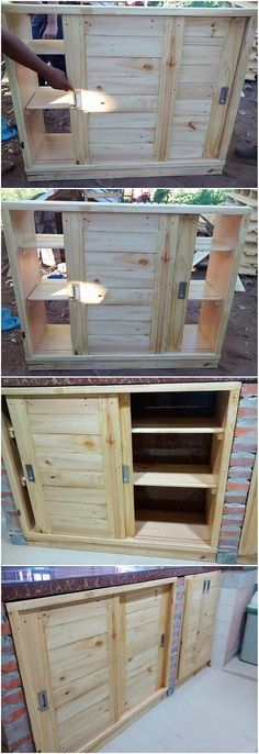 This is quite a funky style of the pallet cabinet with the storage drawer that has been designed on striking concepts of styles over the pallet wood use. This creation has been excellent designed in modish concepts where you will be finding the purpose of attached sliding doors.