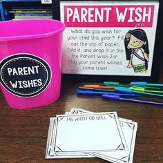 Parent Wish Jar: At Back to School night, ask parents to write their hopes for their child for the school year. It is great for goal setting and for parents to be a part of the conversation in the fall before the first conference. 3rd Grade Classroom, Kindergarten Classroom, Classroom Activities, Classroom Ideas, Future Classroom, Kindergarten Open House Ideas, Open House Activities, Kindergarten Orientation, Beginning Of School