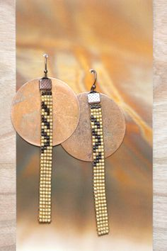 loom beaded earrings // gold and copper // by ThePigmentProject
