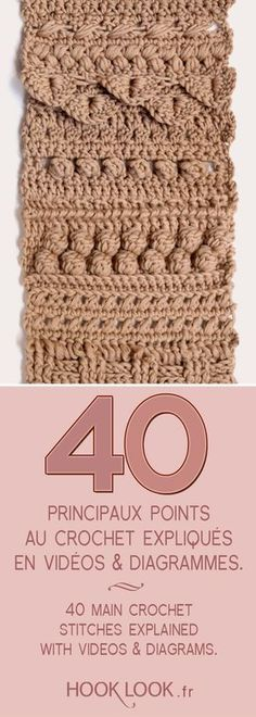 Main crochet stitches explained in videos and diagrams. 40 main crochet stitches explained with videos and diagrams by hooklook.fr et crochet tuto Crochet Baby Mittens, Crochet Diy, Crochet Motifs, Crochet Flower Patterns, Crochet Poncho, Crochet Doilies, Hand Crochet, Crochet Stitches, Crochet 101 Learning
