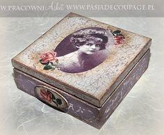 pudełko decoupage w starym stylu retro