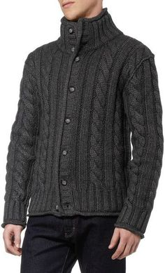 Men Dolce & Gabbana Chunky Cable Knit Cardigan in Gray for Men - Lyst: Mens Cable Knit Sweater, Cable Knit Cardigan, Knit Jacket, Men Sweater, Mens Fashion Sweaters, Dolce And Gabbana Man, Boys Sweaters, Dapper Men, Embroidery Fashion