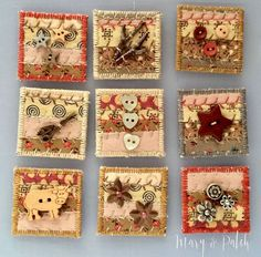 Inchies, miniature quilts with decorations