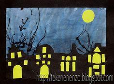Tekenen en zo: Stad bij Nacht: Deze tekenopdracht kan ook bij het thema sinterklaas. Het is dan wel leuk om er iets van een sinterklaas er bij te doen. Denk aan sint op het dak, piet met een grote zak als silhouet.