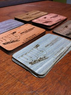 Custom #design #laser cut #business cards on #exotic woods