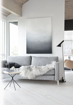 A white and gray minimal abstract wall art