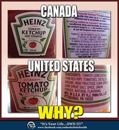 Check your labels! Sugar used in Heinz ketchup in Canada, but in the US version, it's cheap, GMO high fructose corn syrup. Demand better and buy from honest companies that don't sell cheap just because they can get away with it. Ketchup, Gmo Facts, Salud Natural, Bad Food, Corn Syrup, Natural Flavors, Food For Thought, Natural Health, Health And Wellness