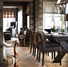 Masculine Dining Room Design Inspiration - There are lots of ways to personalize a dining room. Therefore, if you want to luxuriously decorate your dining space, look at these pics for a small . by Joey Fresh Farmhouse, Modern Farmhouse, Farmhouse Ideas, Modern Country, Modern Rustic, Country Living, Country Style, Farmhouse Style, Cabin Interiors