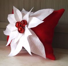 Christmas pillow red high end burlap by TheBurlapCottage on Etsy, $45.00
