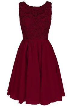 Dresstore Women's Lace Bridesmaid Formal Short Homecoming Dress Burgundy US 6