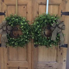 Personalized Double door wreaths Boxwood by angieswreathsandmore