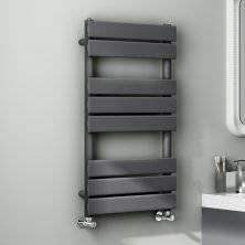 800x450mm Anthracite Flat Panel Ladder Towel Radiator - Francis Range