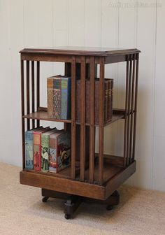 Superb Edwardian Two Tier Revolving Bookcase Raised On Castors