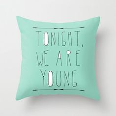 decorative pillow cover-home decor- mint green- typography- song lyrics-words-text-music-pop culture. $30.00, via Etsy.
