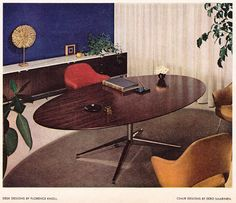 Vintage ad Florence Knoll Desks Mid-Century modern vintage office design furniture Saarinen chairs