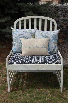 REPURPOSED Upcycled, chalk painted, white, crib turned bench, chair, pillows on Etsy, $160.00