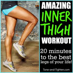 20 Minute Inner Thigh Workout on Tone-and-Tighten.com - you can do this one at home! Best Inner Thigh Workout, Thigh Workouts At Home, Toning Workouts, Fun Workouts, Workout Ideas, Workout Plans, Lose Thigh Fat, Mommy Workout, Workout Fitness