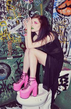 [ • bathroom - graffiti -  model - boots - makeup • ]