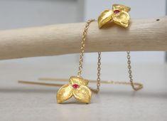 Gold flower earrings with small garnet stone Botanical earrings Garnet earrings Woodland jewelry Gift for women Garnet Earrings, Silver Earrings, Gold Necklace, Garnet Stone, Red Garnet, Gold Flowers, Real Flowers, Flower Earrings, Gifts For Women