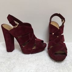 "Jessica Simpson Open Toe Heels size 6.5B Burgundy JS by Jessica Brand Suede Heels. Only worn twice, light wear on footbed in toe area, mostly just dusty from sitting in a closet. Square toe. About 4.5"" heel with 1"" platform. Jessica Simpson Shoes Platforms"