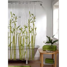 Shop for Maytex Photoreal Tropical Plant PEVA Shower Curtain. Get free delivery On EVERYTHING* Overstock - Your Online Shower Curtains & Accessories Store! Shower Curtains Walmart, Vinyl Shower Curtains, Bamboo Bathroom, Bathroom Drawers, Zen Bathroom, Washroom, Dream Bathrooms, Color Of The Year, Tropical Plants