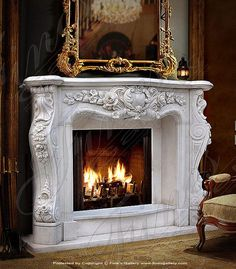 Marble Mantels | Fireplace Mantles | Marble Fireplaces | Hearths | Mantels | Custom Designed Bianco Marble Masterpiece  Bianco Marble Masterpiece  MFP-1292